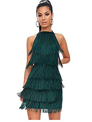 L'VOW Women' Sexy Open Back Skirt Bodycon Gatsby Cocktail Party Fringed Flapper Costume Dress