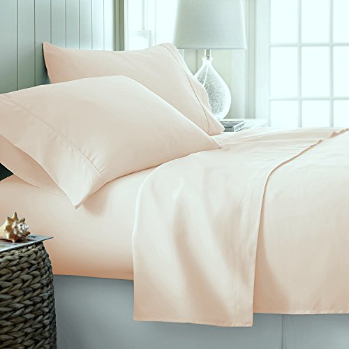 600-Thread-Count Best 100% Egyptian Cotton Sheets & Pillowcases Set - 4 Pc Ivory Long-Staple Combed Cotton Bedding King Sheet for Bed, Fits Mattress Upto 18'' Deep Pocket, Soft & Silky Sateen Weave