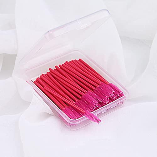 Lot de 100 mini pinceaux jetables pour mascara, pinceaux à sourcils, applicateurs d'extension de cils - Couleur du manche : rouge
