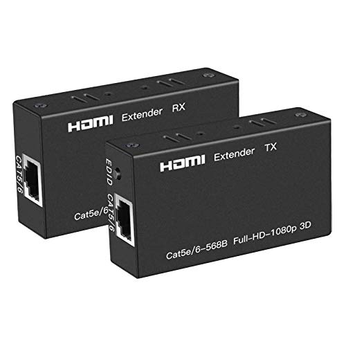 Ozvavzk Digital HDMI Extender Transmitter Full HD 3D 1080p con extensions Cat 5E/6 Receiver Supporta 1080P 3D HDCP EDID.