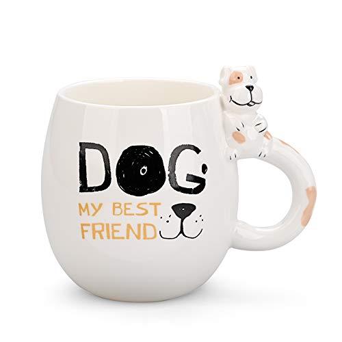 Keramische Hund-Tasse Kaffeetasse Lustige Teetassen Niedliches Tier-Hund am Griff Handgemachte Tasse für Freunde Mitbewohner Familie oder Kinder 3D Tier Überraschungs Geburtstagsgeschenk (15 Unzen)