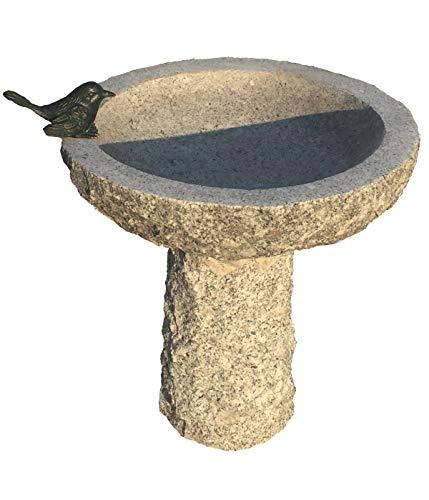 Dehner Vogeltränke,Ø ca. 35 cm, Höhe ca. 40 cm, Granit/Bronze, grau/Bronze