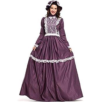 Women s Halloween Dresses Halloween Ladies Dress and hat Adult Ladies Prairie Ladies Costume  Color   Deep Purple Size   M