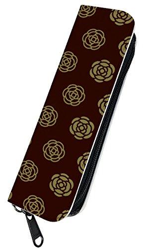 [PLOOMTECH JT-03S] プルームテック 電子タバコ ケース カバー ラウンドファスナー A. カメリアA ブラウン フラワー 花柄 かわいい