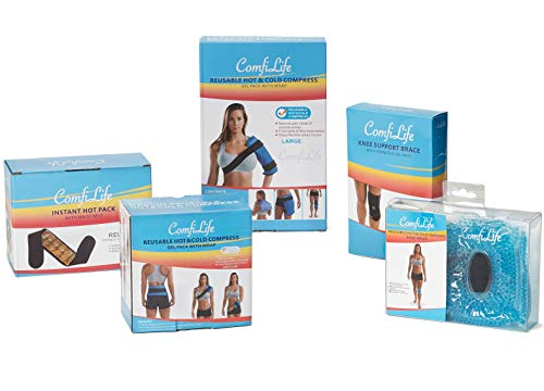 ComfiLife Ice Packs for Injuries – Reusable Hot & Cold Packs with Wrap – Flexible Gel Pack Ice Wrap for Back Pain, Knee, Shoulder, Neck, Ankle, Wrists – Heat & Cold Therapy Relief – Medium (2 Packs)