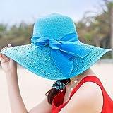 HEHEXIY Playa de la Mujer Sombreros Gorras Moda de Verano Plegable Chiffon Floppy Sun Sombreros Casual Ladies Sombreros Bowknot Hat LadiesSky blueBeach Sombreros Wide Brim Floppy Packable Ajust