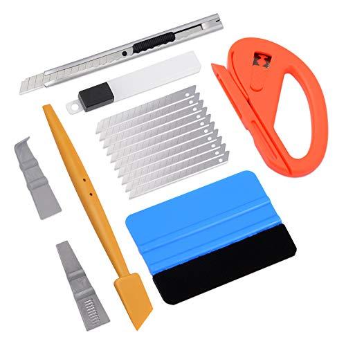 Ehdis 7 Stück Rakel Set für Tönungsfolie Auto Wrap, Folien Werkzeug Set für Wrapping, Filzrakel, Folierung Rakel, Cutter, Messer mit 10 Klingen, Folierungs Werkzeug Kit