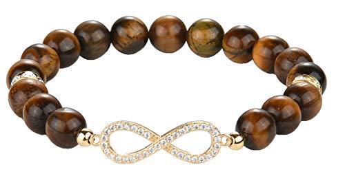 Kralen armband oneindigheidsteken Tijgeroog - Onyx natuursteen 18,5cm - 21,5cm Rose kwarts Galeara design INFINITY