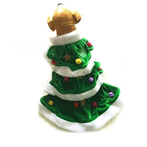 GH-YS Precioso Disfraz de Perro Mascota Forma de rbol de Navidad Cachorro Ropa de Perro Perro Gato Cazadora Disfraz Disfraz Vestirse Ropa de Fiesta para Mascotas