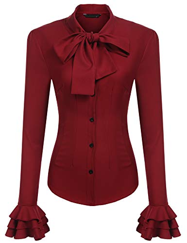 Zeagoo Lady's Bow Tie Neck Blouses Long Sleeve Formal Business Button Shirts for Work Wine Red