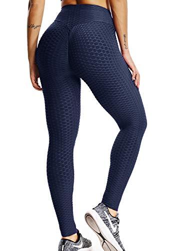 FITTOO Mallas Pantalones Deportivos Leggings Mujer Yoga de Alta Cintura Elásticos Yoga Running Fitness AzulL