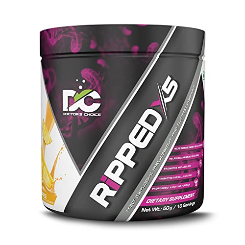 Doctor's Choice RIPPED – X5 Most Explosive Pre-Workout & Cutting Formula 50g [10 Servings – Pineapple]