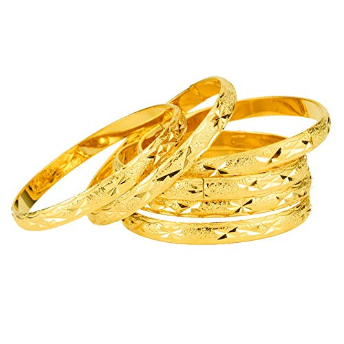 18k Gold Plated Stackable Bangle Stainless Steel Open Cuff Bracelets for Women Jewelry,2.6""