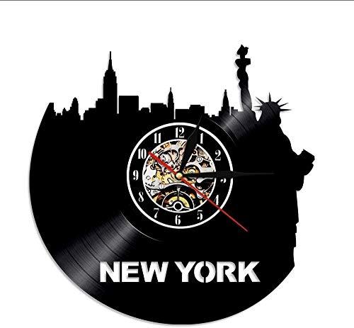 Wall Clock New York Statue of Liberty Wall Clock City View Skyline Vinyl Record Wall Clock American Patriot New York Travel Souvenir with Light 30×30Cm