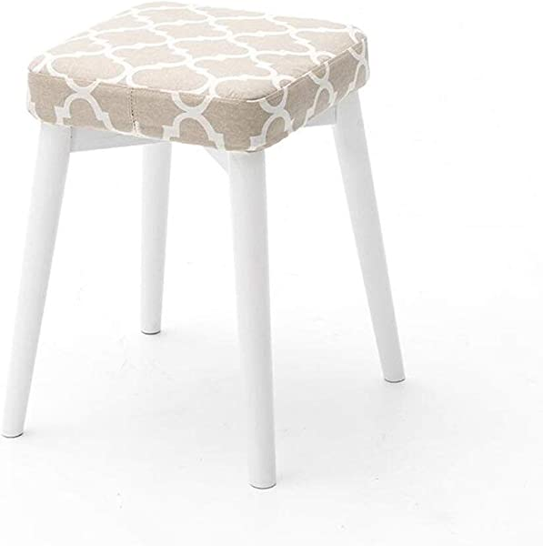 Carl Artbay Wooden Footstool Gray Cushion White Stent Solid Wood Stools Creative Fashion Dressing Stool Cloth Table Stool Home Small Bench Home