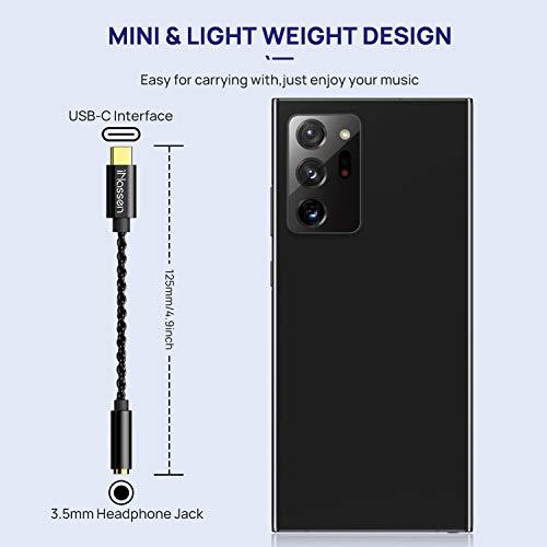USB C 3.5mm Adapter USB C Aux Adapter,iNassen USB C auf Klinke Typ C Audio Stereo Klinkenkabel Kompatibel für Huawei P40 P30 P20 Pro/Mate10/20 Pro, Samsung S20/Note10+/A80,Google Pixel 4XL- schwarz