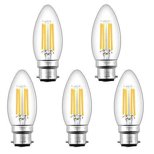 Bonlux - Lampadina LED a filamento B22, 4 W, stile vintage BC Edison, con attacco a baionetta C35, 400 lm, equivalente a 35-40 W, lampadina alogena bianca calda 2700 K (5 pezzi)