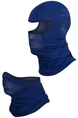 BRUBECK Set Sturmhaube + halbe Gesichtsmaske | Maske | Sturmmaske Helm | Gesichtshaube | Snowboard Balaclava | Skimaske | Motorradmaske | Skifahren | Gr. L - XL | Dunkelblau | KM00010+ X-PRO