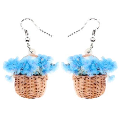 Dames Oorbellen Acryl Mand Met Blauwe Chrysanthemum Bloem Oorbellen Drop Bengelen Unieke Plant Sieraden