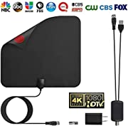 YJan TV Antenna Digital Amplified HDTV Antenna Support 4K Free View 1080P HD TV Antenna Maximum Long Range of 80 Miles with Detachable Amplifier Signal Booster 13.1 Feet Coax Cable Black