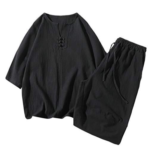 2 Piece Set Tops + Pantalons Mode Hommes Coton Short À Manches Courtes Set Été Coton Et Lin À Manches Courtes Short Set Costume Survêtement Casual Lâche Grande Taille(XXXX-Large,Noir)
