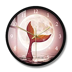 N /A Wall Clock 12 inch Modern Design Mermaid and Moonlight Girl Room Art Deco Mute Gift Battery-Powered Mute Simple Home Living Room