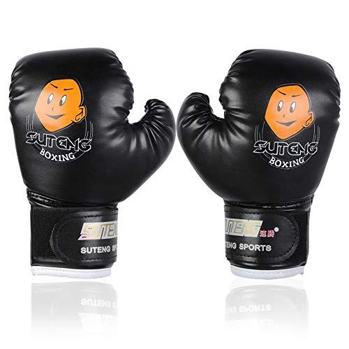 PU Kinder Boxhandschuhe Trainingshandschuhe für Kinder von 3-12 Jahre ( Farbe : Schwarz )