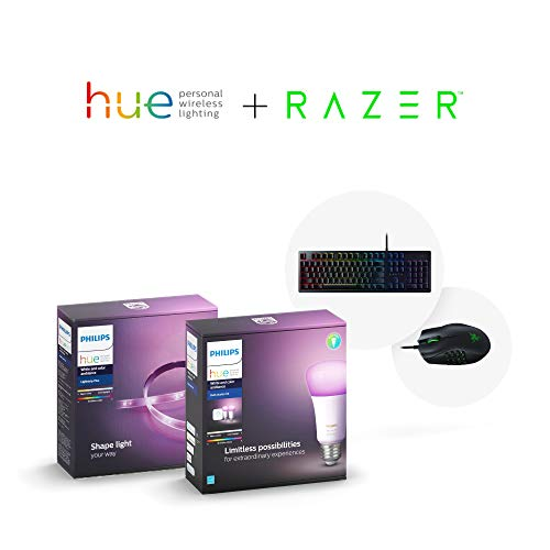 Philips Hue Smart Light Bulb Exclusive Starter Kit and Dimmable Smart Light Strip with Razer Huntsman-Opto-Mechanical Gaming Keyboard and Naga Trinity Gaming Mouse