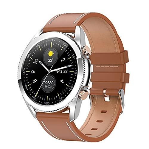 M/S I12 1.3 Pulgadas Reloj Inteligente con Pantalla táctil Ritmo cardíaco a Prueba de Agua con Llamada telefónica Correa de Cuero marrón 1.3 Pulgadas