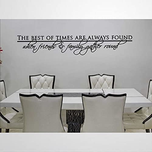 Pegatina de pared redonda con cita de The Best of Times are Always Found When Friends and Family Gather Bc263