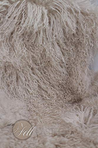 Tibetlammfell Hell Beige fein gelockt Tibetlamm Schaffell Lammfell 90 x 45 cm