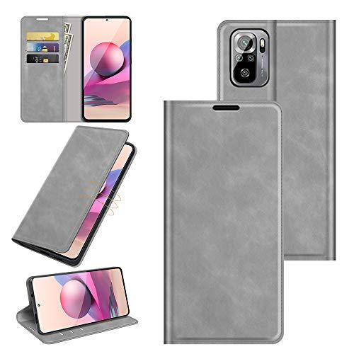 Fertuo Funda para Xiaomi Redmi Note 10 4G / Note 10S, Funda de piel tipo cartera con cierre magnético, carcasa interior de silicona a prueba de golpes para Redmi Note 10 4G, gris