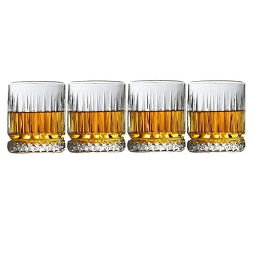 YAOLU Copas de vino tinto, sin plomo, 350 ml, copas de vino de cristal premium, juego de 4 vasos de bar de base pesada, vasos para agua, zumo, cerveza y cóctel. (4 unidades, 355 ml)
