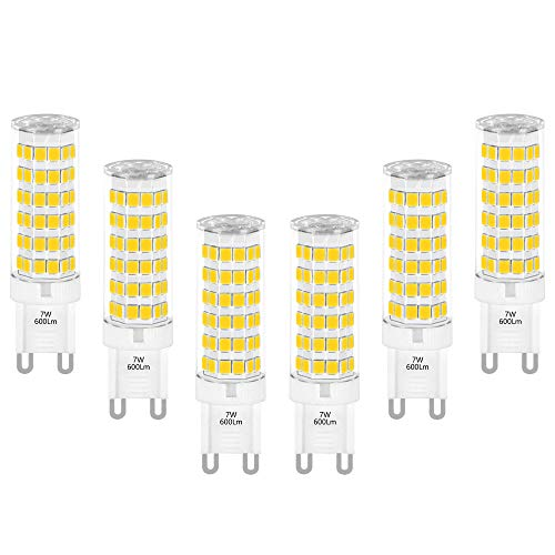 Hohe Helligkeit G9 Sockel LED Kleine Leuchtmittel Glühbirne Lampen 7W 600Lm Kaltweiß 6000K 230V Ersetzt 60W Halogenlampe G9 für Deckenleuchte Spiegellampe 6er Pack von Enuotek