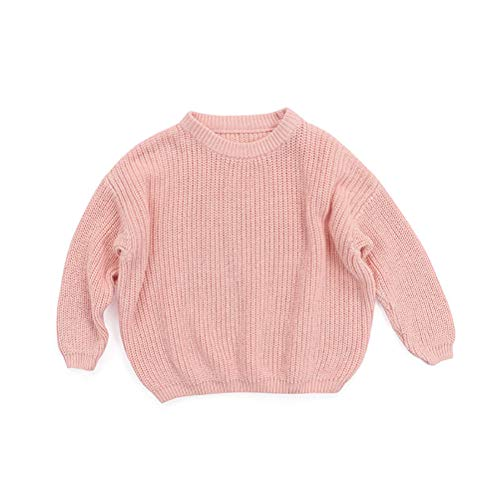 TUSFTAY Toddler Baby Boys Girls Sweater Autumn Winter Children Solid Crewneck Thick Sweater Long Sleeves Casual Crewneck Sweatshirt (Pink, 12-18 Months)