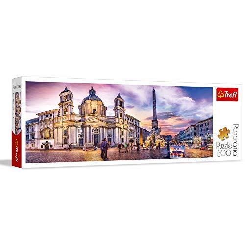 Trefl- Piazza Navona, Roma, Italien 500 Teile, Premium Quality, für Erwachsene und Kinder ab 10 Jahren Puzzle Panorama, Colori, 29501