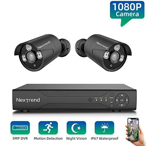Lowest Price! Security Camera System,NexTrend Wired Home Surveillance Cameras System 4CH 5MP DVR wit...