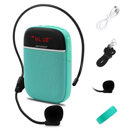 Amplificador de voz Bluetooth portátil, mini altavoz recargable con cable con micrófono, para maestros, guías turísticos, entrenadores y más(azul)