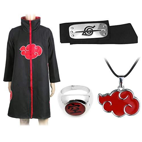I3C Anime Sasuke Ninja Cosplay Kostüm Mantel, Ring Akatsuki, Halskette, Haarband gegen Konoha / 4 Stück