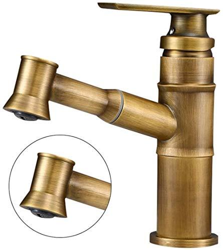 BNGS - Grifo extraíble de cobre antiguo de bambú para lavabo de agua caliente y frío