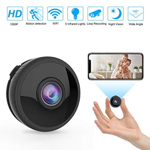 Portable s/écurit/é Nanny Cam vid/éo cam/éscope Hongfutong Mini Spy Cam/éras Covert Tiny Cam/éra cach/ée HD 1080p, 140/degr/és Grand Angle, d/étection de Mouvement, Vision de Nuit