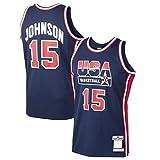 ZHANGYU Camiseta mágica de baloncesto Johnson Custom USA Sportswear Basketball T-Shirt Home #15 Dream Team Jersey Navy - Icon Edition-XXL