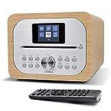 LEMEGA MSY2 Radio Digital Dab/Dab+/FM con Reproductor de CD (Bluetooth,Caja de Madera,AUX,Lector y Carga USB Dual,Despertador Dual,Pantalla HCC de 2,4',Control Remoto) -Blanco