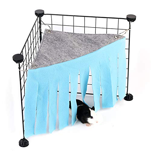 Guinea Pig Hideout, Guinea Pig Accessories, Guinea Pigs Forest Rabbits Hideaway Corner Fleece for Ferrets Chinchillas Rats Gerbils Dwarf Bed Other Small Animals Cage Liner Halloween Christmas Blue