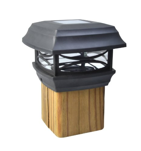 Moonrays 91253 (Black) Solar LED Cap Lamp 4x4 Wooden Posts, 4-Inch