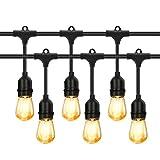 PREUP Outdoor Lights Mains Powered, 15+3 LED Bulbs Garden Lights 48ft 15 Sockets