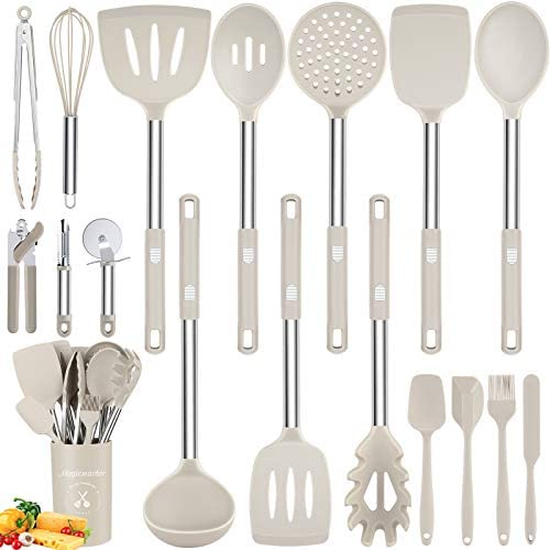 Silicone Utensil Set 18pcs Kitchen Utensils Set with Holder Stainless Steel Handles Nonstick product image
