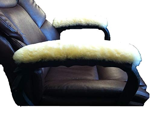 """JMS Products USA ONE Pair 15"""" Long Sheepskin Chair Arm Rest Cover Pads Australian Merino (Black)"""