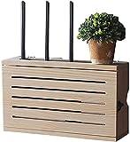 Estante Flotante Set-Top Box WiFi Caja De Almacenamiento De Pared Zócalo Blindaje Caja Dormitorio Sólido Router De Madera Estante De Almacenamiento De TV Gabinete DV Decoración De La Pared del Estante