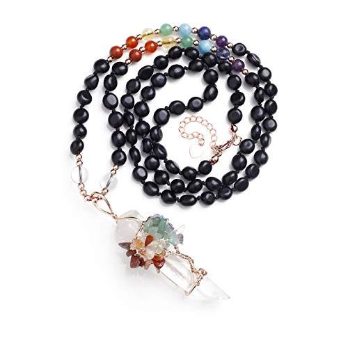 CrystalTears 7 Chakra Kristall Mala Halskette Wire Wrap Baum des Lebens Bergkristall Hexagon Säulen Anhänger Reiki Healing Edelstein Lebensbaum Yoga Gebetskette Glücksbringer Obsidian